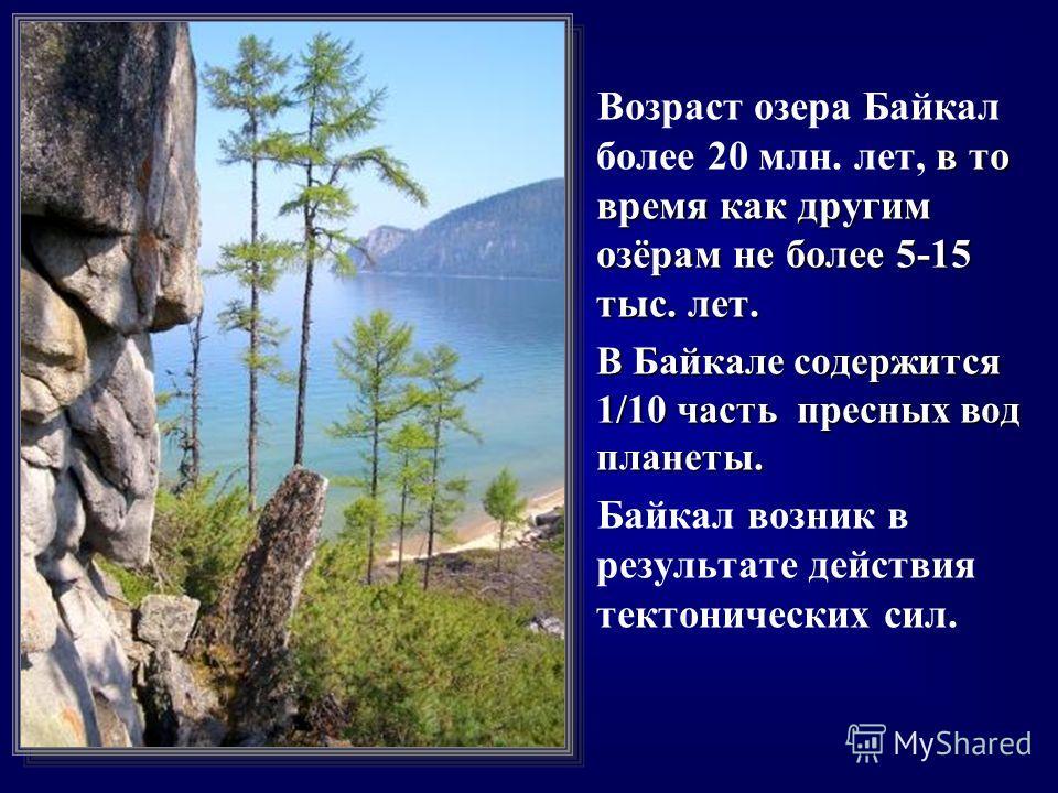 в то время как другим озёрам не более 5-15 тыс. лет. Возраст озера Байкал более 20 млн. лет, в то время как другим озёрам не более 5-15 тыс. лет. В Байкале содержится 1/10 часть пресных вод планеты. В Байкале содержится 1/10 часть пресных вод планеты