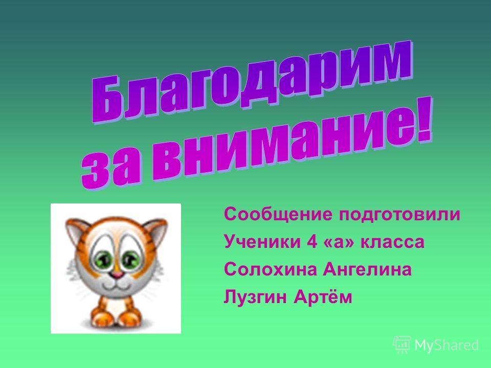 Сообщение подготовили Ученики 4 «а» класса Солохина Ангелина Лузгин Артём