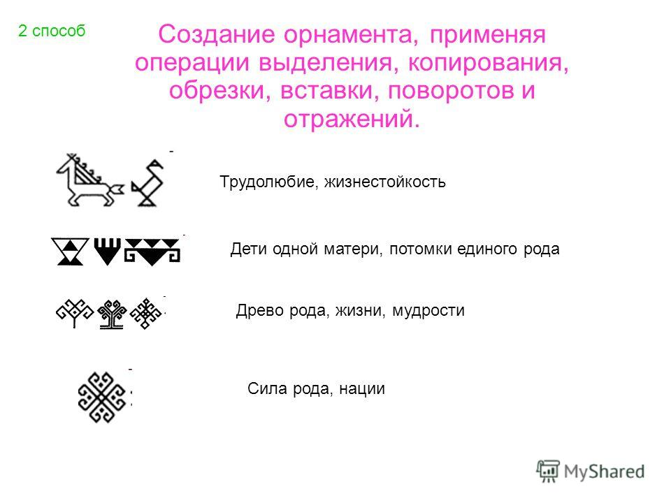 2 способ Создание орнамента, применяя операции выделения, копирования, обрезки, вставки, поворотов и отражений. Трудолюбие, жизнестойкость Дети одной матери, потомки единого рода Древо рода, жизни, мудрости Сила рода, нации