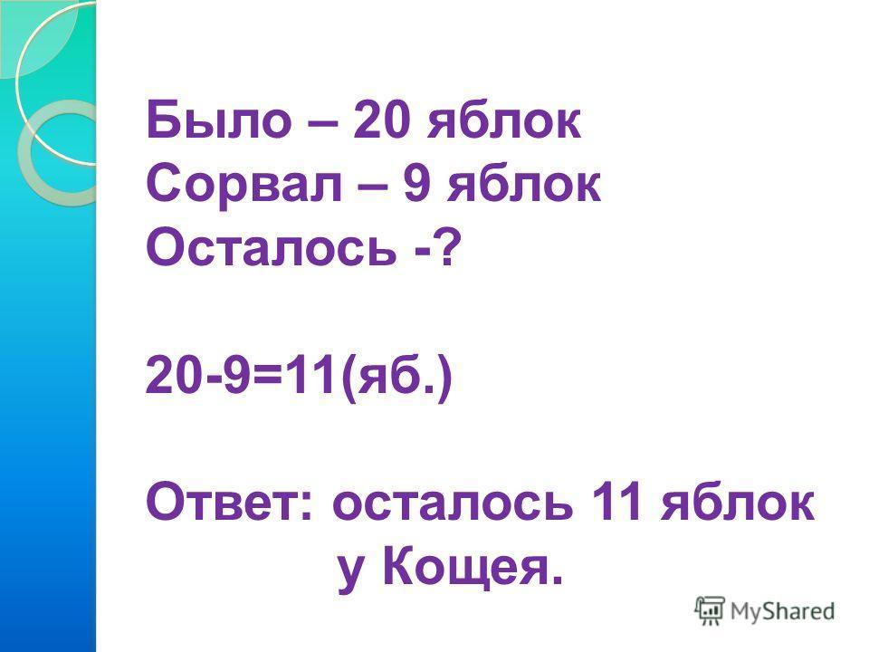 Было – 20 яблок Сорвал – 9 яблок Осталось -? 20-9=11(яб.) Ответ: осталось 11 яблок у Кощея.