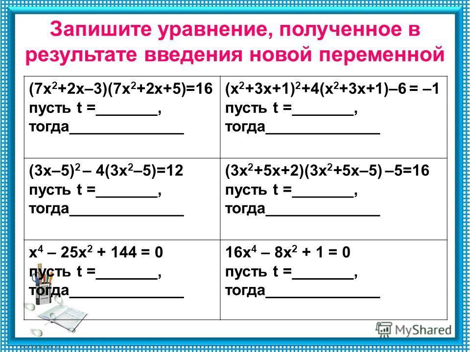 Запишите уравнение, полученное в результате введения новой переменной (7х 2 +2х–3)(7х 2 +2х+5)=16 пусть t =_______, тогда_____________ (х 2 +3х+1) 2 +4(х 2 +3х+1)–6 = –1 пусть t =_______, тогда_____________ (3х–5) 2 – 4(3х 2 –5)=12 пусть t =_______,