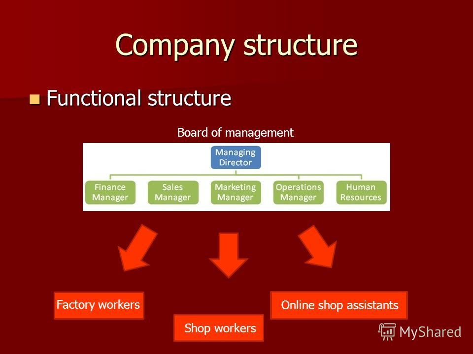 Company structure Functional structure Functional structure Board of management Factory workers Shop workers Online shop assistants