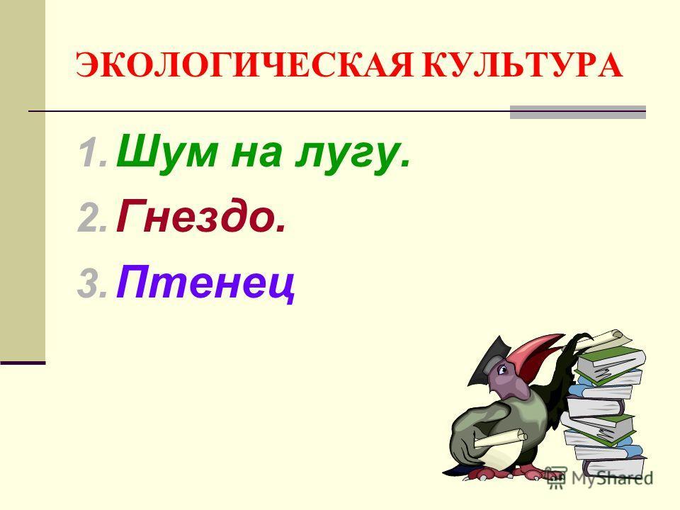 ЭКОЛОГИЧЕСКАЯ КУЛЬТУРА 1. Шум на лугу. 2. Гнездо. 3. Птенец