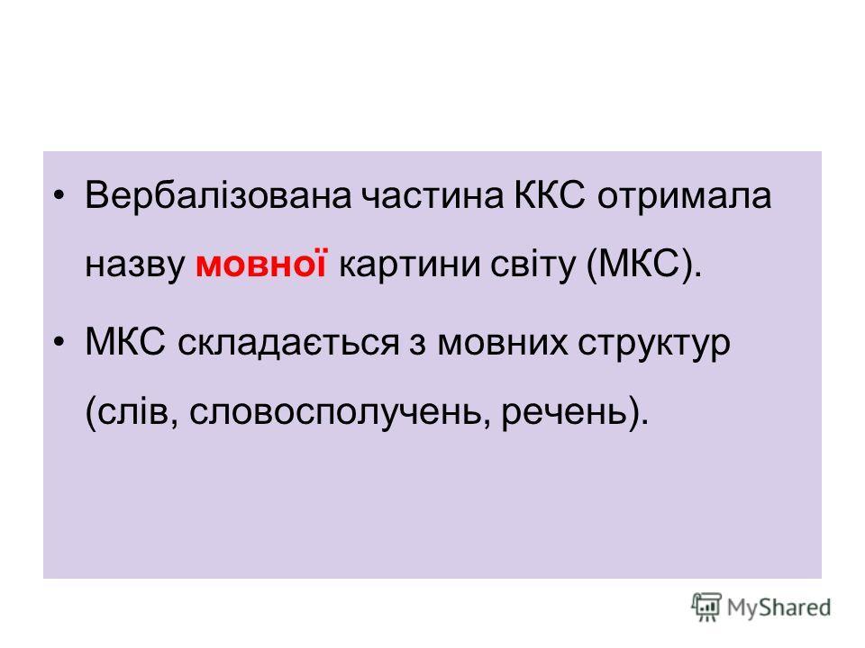 Вербалізована частина ККС отримала назву мовної картини світу (МКС). МКС складається з мовних структур (слів, словосполучень, речень).