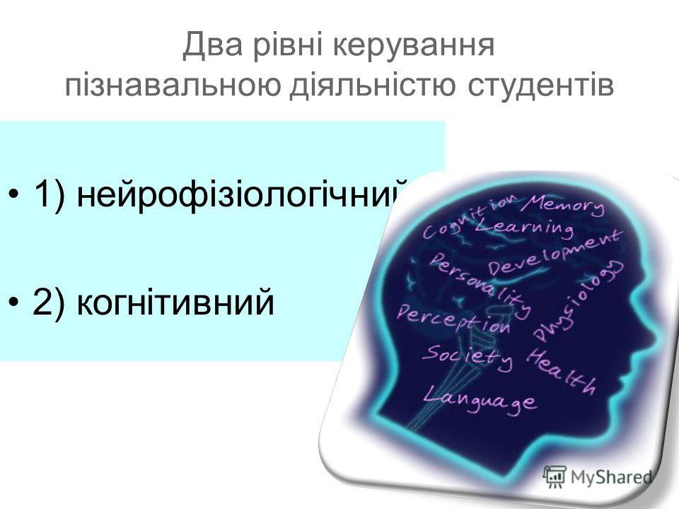 Два рівні керування пізнавальною діяльністю студентів 1) нейрофізіологічний 2) когнітивний