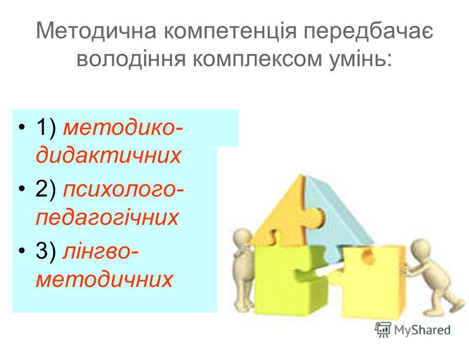 Методична компетенція передбачає володіння комплексом умінь: 1) методико- дидактичних 2) психолого- педагогічних 3) лінгво- методичних