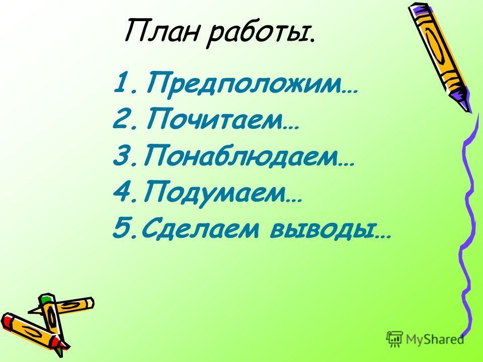 План работы. 1.Предположим… 2.Почитаем… 3.Понаблюдаем… 4.Подумаем… 5.Сделаем выводы…