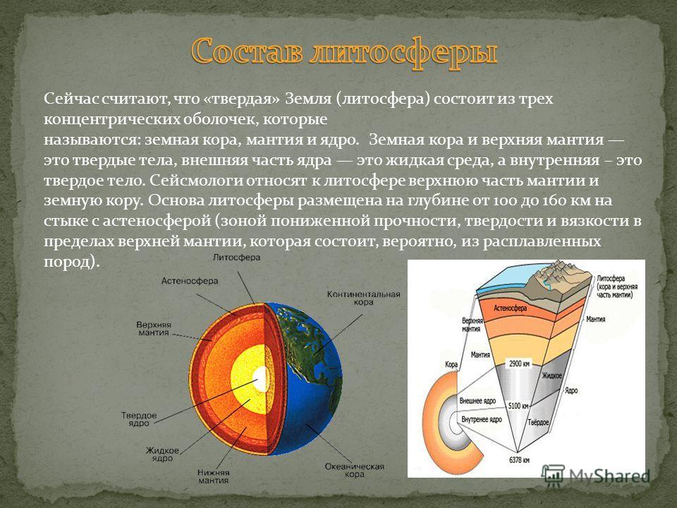 Сейчас считают, что «твердая» Земля (литосфера) состоит из трех концентрических оболочек, которые называются: земная кора, мантия и ядро. Земная кора и верхняя мантия это твердые тела, внешняя часть ядра это жидкая среда, а внутренняя – это твердое т
