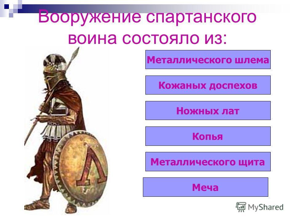 Вооружение спартанского воина состояло из: Металлического шлема Кожаных доспехов Ножных лат Копья Металлического щита Меча