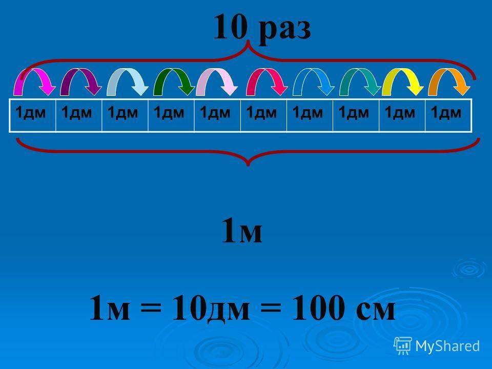 1дм 1м 10 раз 1м = 10дм = 100 см