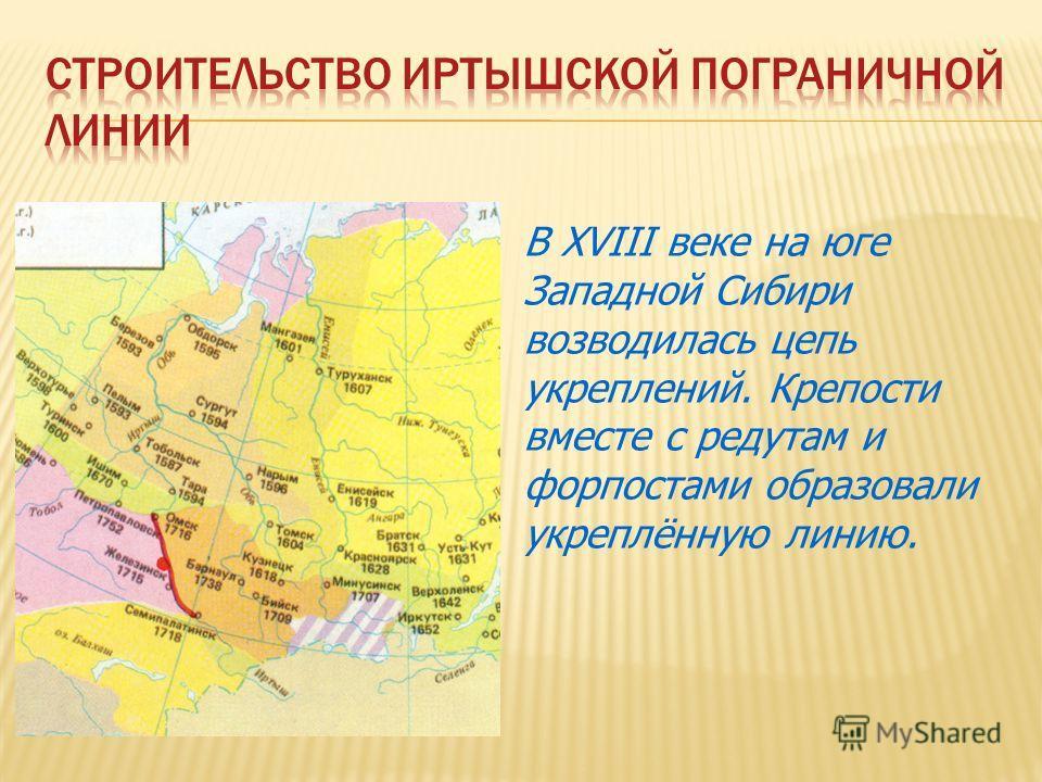 В XVIII веке на юге Западной Сибири возводилась цепь укреплений. Крепости вместе с редутам и форпостами образовали укреплённую линию.