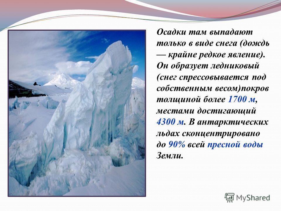 Осадки там выпадают только в виде снега ( дождь крайне редкое явление ). Он образует ледниковый ( снег спрессовывается под собственным весом ) покров толщиной более 1700 м, местами достигающий 4300 м. В антарктических льдах сконцентрировано до 90% вс