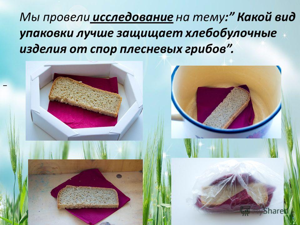 Мы провели исследование на тему: Какой вид упаковки лучше защищает хлебобулочные изделия от спор плесневых грибов.