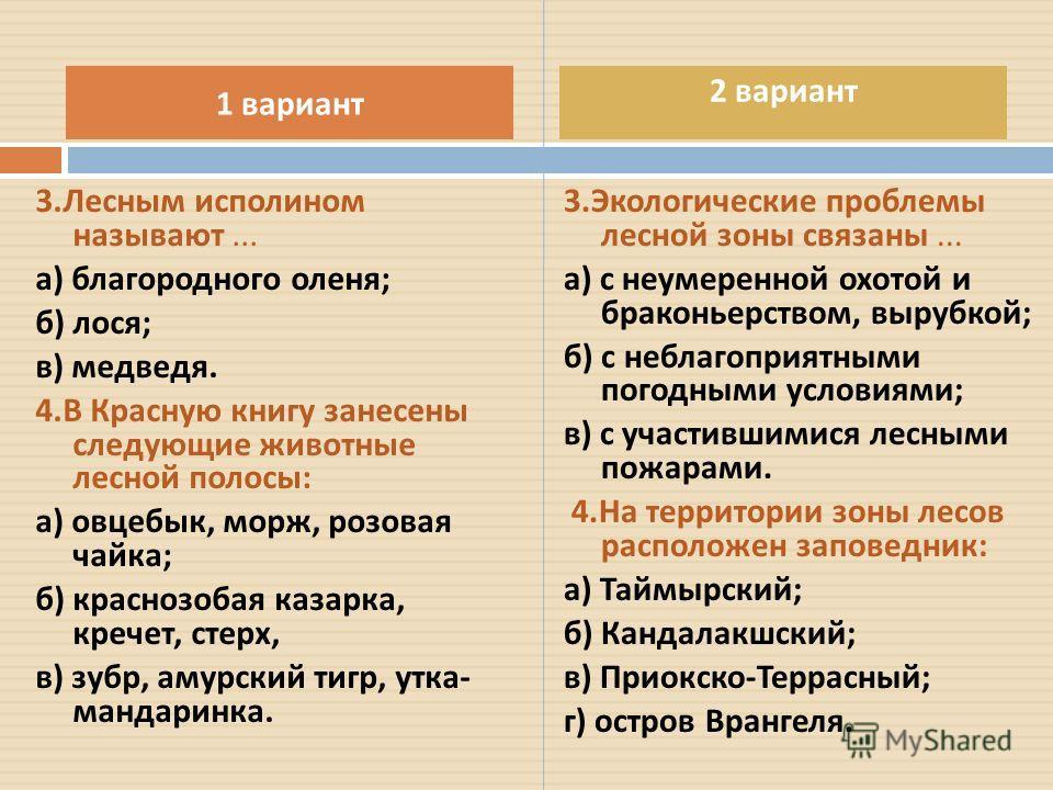 3. Лесным исполином называют... а ) благородного оленя ; б ) лося ; в ) медведя. 4. В Красную книгу занесены следующие животные лесной полосы : а ) овцебык, морж, розовая чайка ; б ) краснозобая казарка, кречет, стерх, в ) зубр, амурский тигр, утка -
