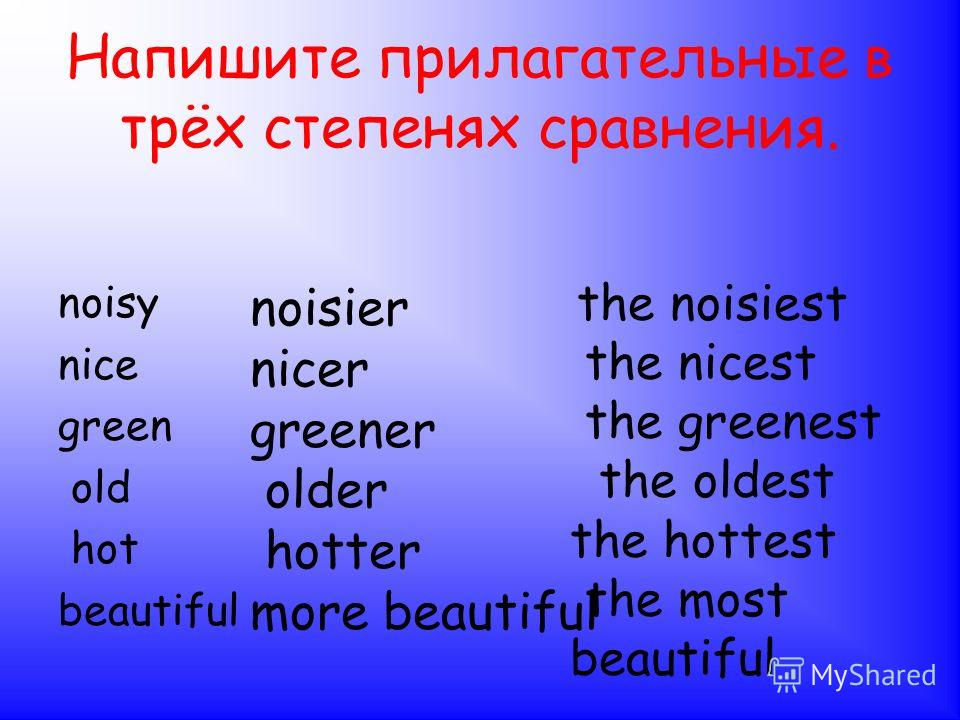 Запомни!!! good- better- the best bad- worse- the worst many-more-the most little-less- the least
