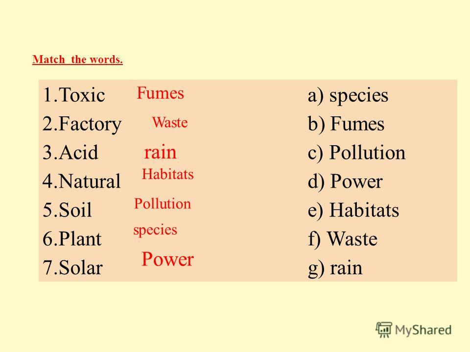 1.Toxica) species 2.Factoryb) Fumes 3.Acidc) Pollution 4.Naturald) Power 5.Soile) Habitats 6.Plantf) Waste 7.Solarg) rain Match the words. Fumes Waste rain Habitats Pollution species Power