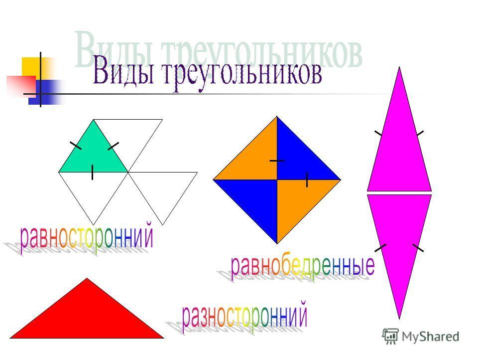 Виды треугольников прямоугольный остроугольный тупоугольный углов Прямой = 90 0 Острый < 90 0 Тупой > 90 0 Развернутый = 180 0