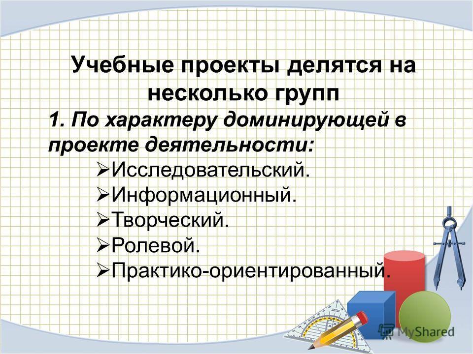 Учебные проекты делятся на несколько групп 1. По характеру доминирующей в проекте деятельности: Исследовательский. Информационный. Творческий. Ролевой. Практико-ориентированный.