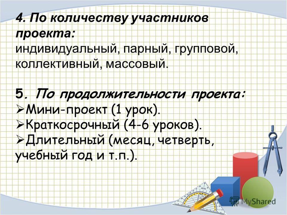 4. По количеству участников проекта: индивидуальный, парный, групповой, коллективный, массовый. 5. По продолжительности проекта: Мини-проект (1 урок). Краткосрочный (4-6 уроков). Длительный (месяц, четверть, учебный год и т.п.).