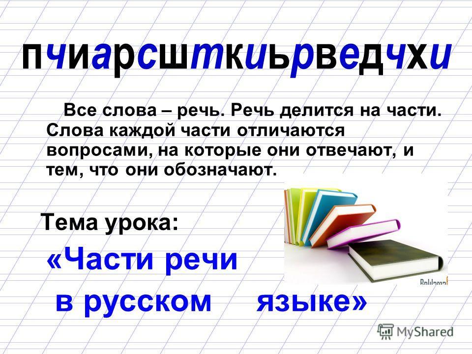 пчиарсшткиьрведчхипчиарсшткиьрведчхи Все слова – речь. Речь делится на части. Слова каждой части отличаются вопросами, на которые они отвечают, и тем, что они обозначают. Тема урока: «Части речи в русском языке»