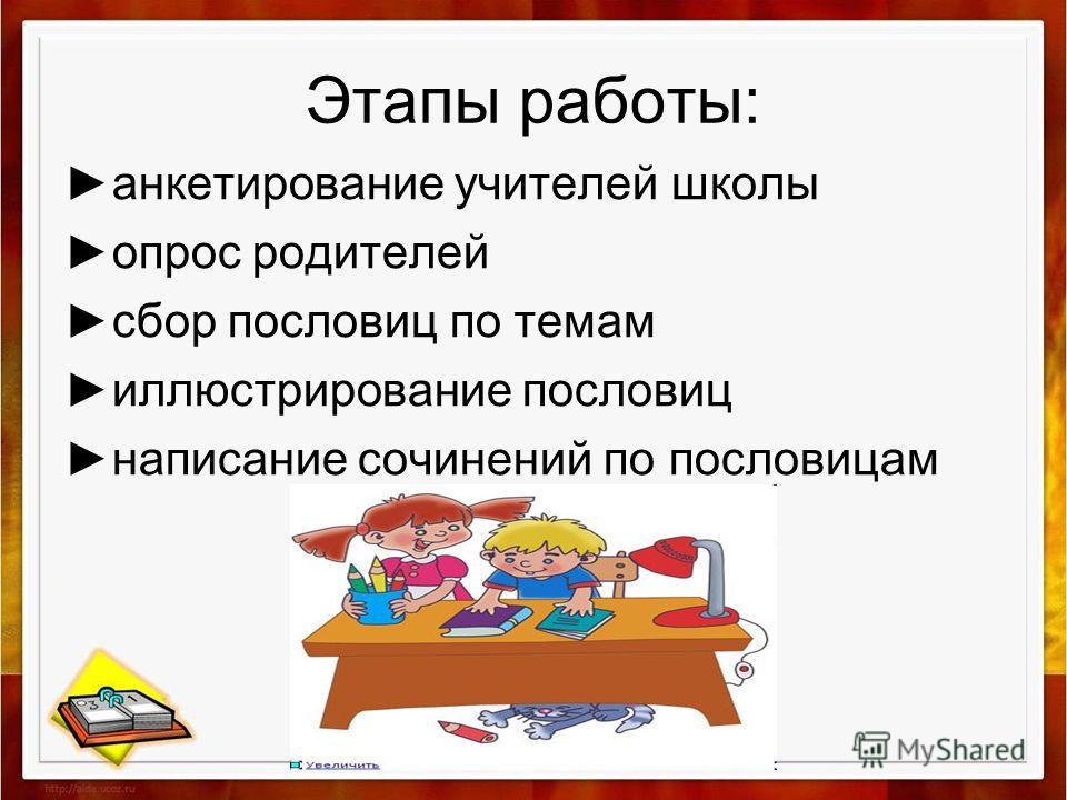 Этапы работы: анкетирование учителей школы опрос родителей сбор пословиц по темам иллюстрирование пословиц написание сочинений по пословицам