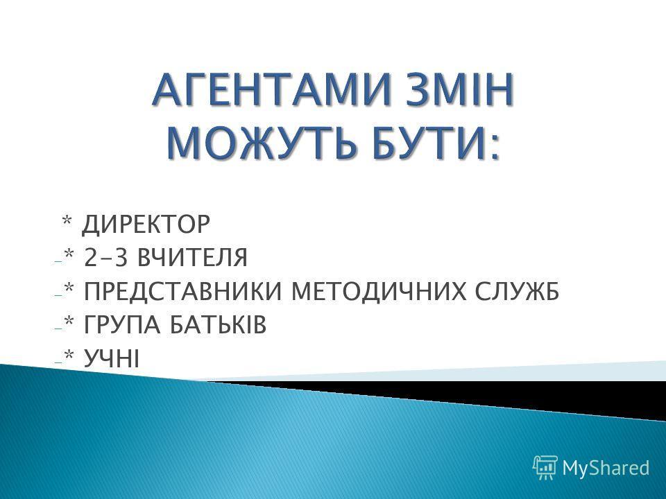 * ДИРЕКТОР - * 2-3 ВЧИТЕЛЯ - * ПРЕДСТАВНИКИ МЕТОДИЧНИХ СЛУЖБ - * ГРУПА БАТЬКІВ - * УЧНІ