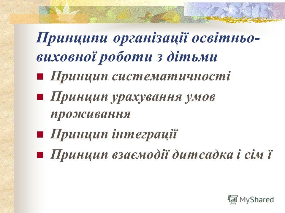 Принципи організації освітньо- виховної роботи з дітьми Принцип систематичності Принцип урахування умов проживання Принцип інтеграції Принцип взаємодії дитсадка і сім ї