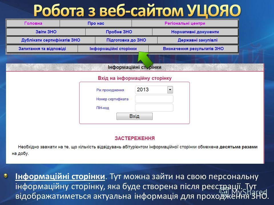 Інформаційні сторінки. Тут можна зайти на свою персональну інформаційну сторінку, яка буде створена після реєстрації. Тут відображатиметься актуальна інформація для проходження ЗНО.