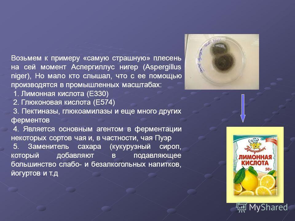 Возьмем к примеру «самую страшную» плесень на сей момент Аспергиллус нигер (Aspergillus niger), Но мало кто слышал, что с ее помощью производятся в промышленных масштабах: 1. Лимонная кислота (Е330) 2. Глюконовая кислота (Е574) 3. Пектиназы, глюкоами