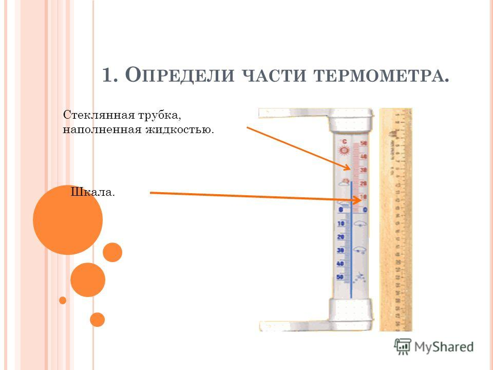 1. О ПРЕДЕЛИ ЧАСТИ ТЕРМОМЕТРА. Стеклянная трубка, наполненная жидкостью. Шкала.
