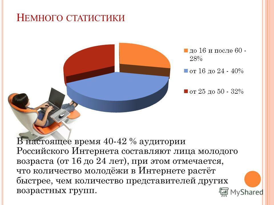 Н ЕМНОГО СТАТИСТИКИ В настоящее время 40-42 % аудитории Российского Интернета составляют лица молодого возраста (от 16 до 24 лет), при этом отмечается, что количество молодёжи в Интернете растёт быстрее, чем количество представителей других возрастны