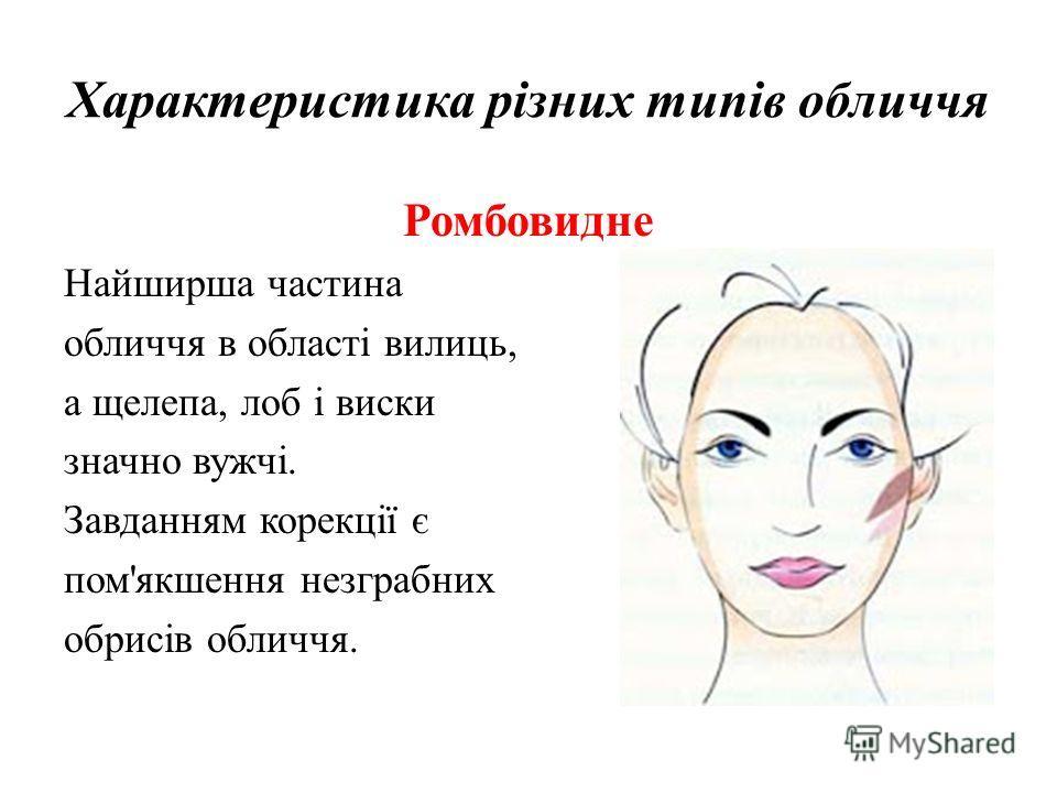 Характеристика різних типів обличчя Ромбовидне Найширша частина обличчя в області вилиць, а щелепа, лоб і виски значно вужчі. Завданням корекції є пом'якшення незграбних обрисів обличчя.