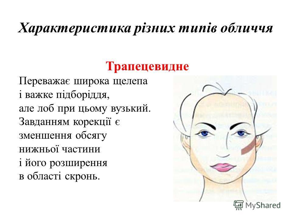 Характеристика різних типів обличчя Трапецевидне Переважає широка щелепа і важке підборіддя, але лоб при цьому вузький. Завданням корекції є зменшення обсягу нижньої частини і його розширення в області скронь.