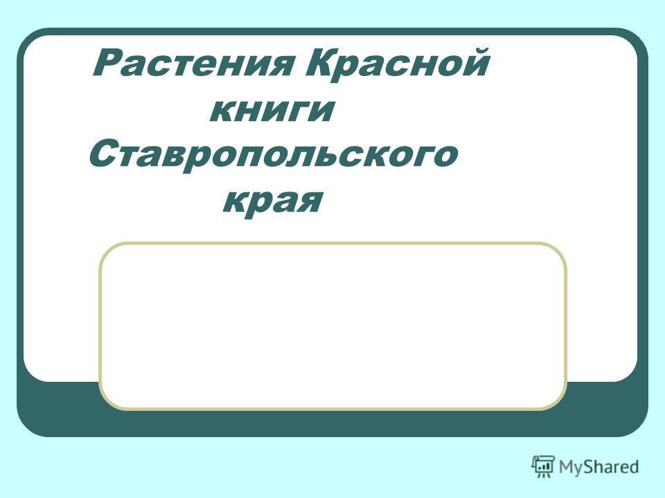 Растения Красной книги Ставропольского края