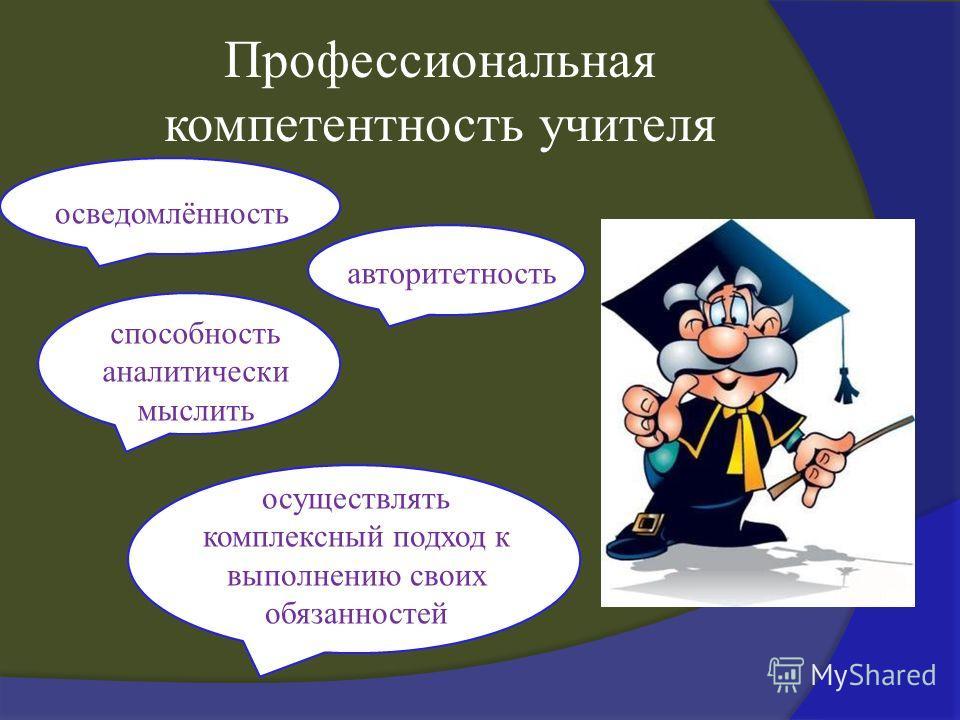 Профессиональная компетентность учителя осведомлённость авторитетность способность аналитически мыслить осуществлять комплексный подход к выполнению своих обязанностей
