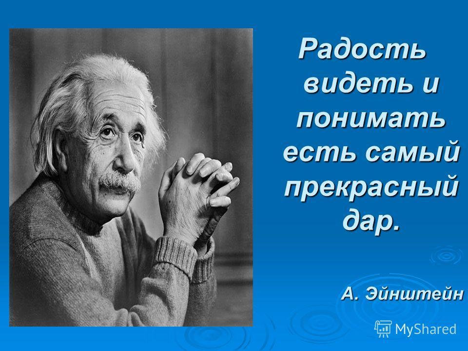 Радость видеть и понимать есть самый прекрасный дар. А. Эйнштейн