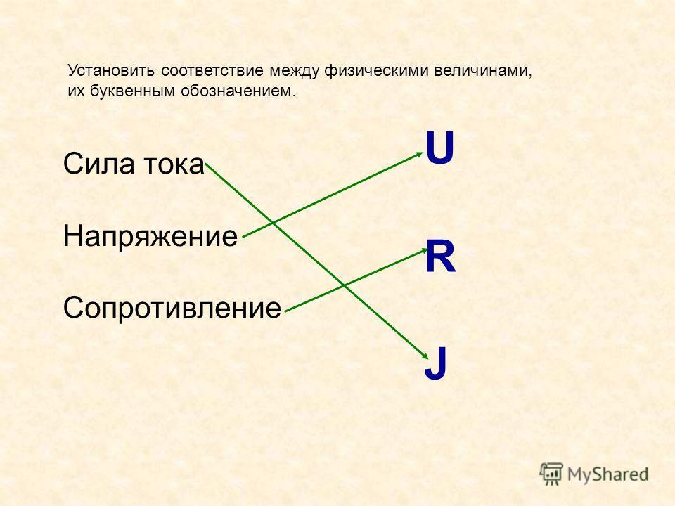 Установить соответствие между физическими величинами, их буквенным обозначением. Сила тока Напряжение Сопротивление URJURJ