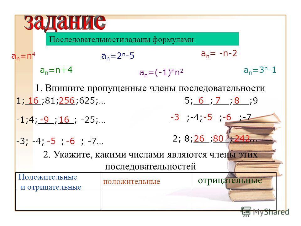 Последовательности заданы формулами a n =n 4 a n =n+4 a n =2 n -5 a n =(-1) n n 2 a n = -n-2 a n =3 n -1 1. Впишите пропущенные члены последовательности 1;___;81;___;625;…5;___;___;___;9 -1;4;___;___; -25;… -3; -4;___;___; -7… 2; 8;___;___;___... ___