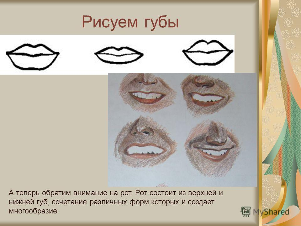 Рисуем губы 21 А теперь обратим внимание на рот. Рот состоит из верхней и нижней губ, сочетание различных форм которых и создает многообразие.