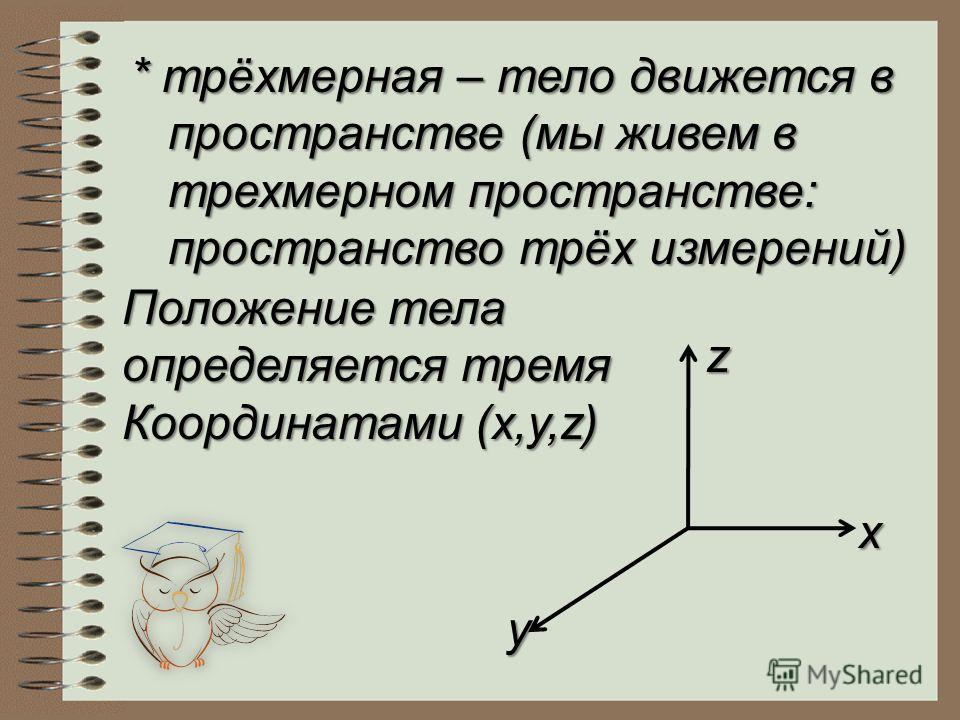 * трёхмерная – тело движется в пространстве (мы живем в трехмерном пространстве: пространство трёх измерений) Положение тела определяется тремя Координатами (x,y,z) x y z