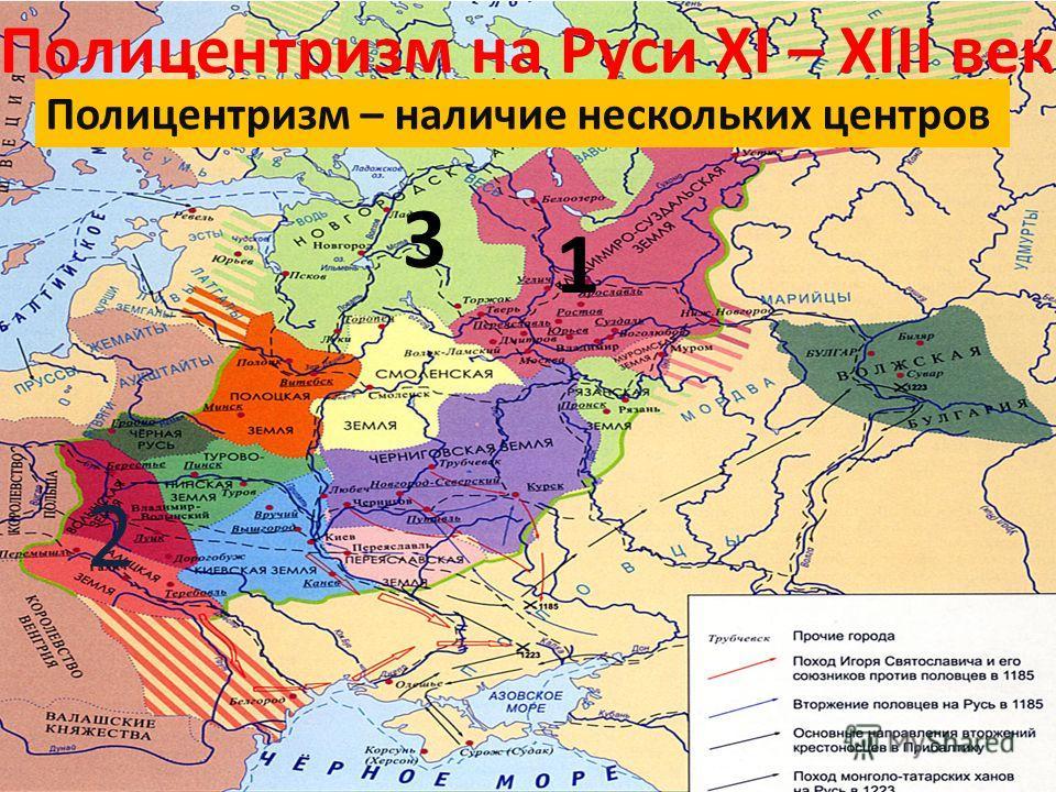 Полицентризм на Руси XI – XIII век Полицентризм – наличие нескольких центров 1 2 3