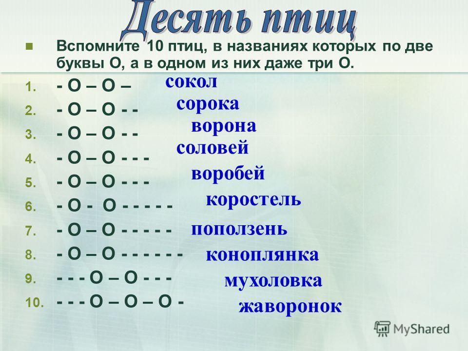 Вспомните 10 птиц, в названиях которых по две буквы О, а в одном из них даже три О. 1. - О – О – 2. - О – О - - 3. - О – О - - 4. - О – О - - - 5. - О – О - - - 6. - О - О - - - - - 7. - О – О - - - - - 8. - О – О - - - - - - 9. - - - О – О - - - 10.