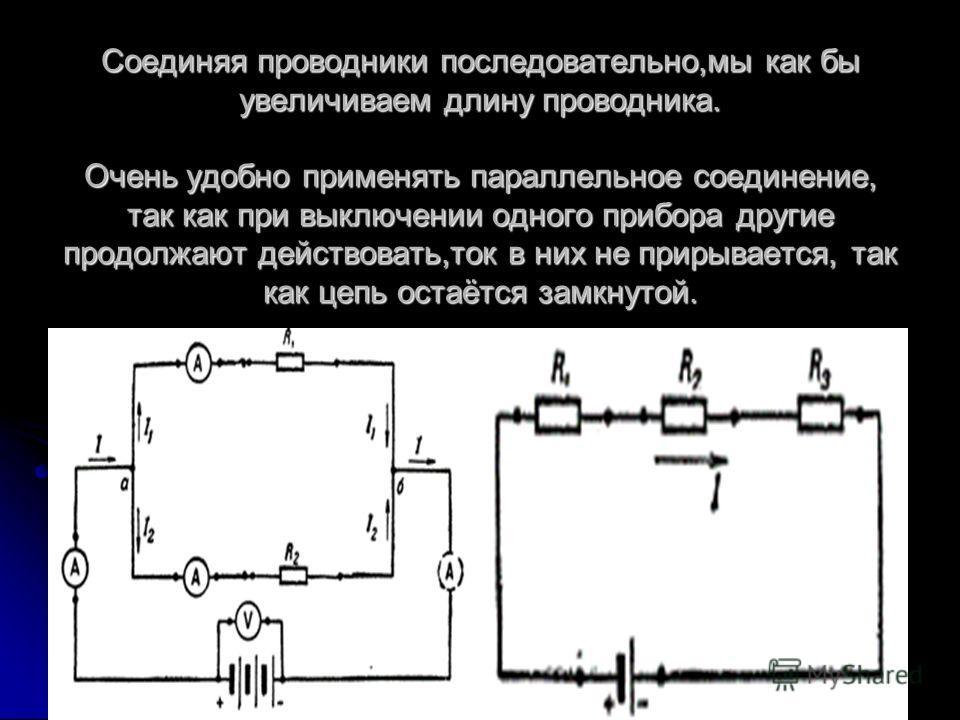 Соединяя проводники последовательно,мы как бы увеличиваем длину проводника. Очень удобно применять параллельное соединение, так как при выключении одного прибора другие продолжают действовать,ток в них не прирывается, так как цепь остаётся замкнутой.