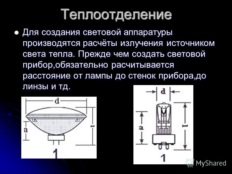 Теплоотделение Для создания световой аппаратуры производятся расчёты излучения источником света тепла. Прежде чем создать световой прибор,обязательно расчитывается расстояние от лампы до стенок прибора,до линзы и тд. Для создания световой аппаратуры