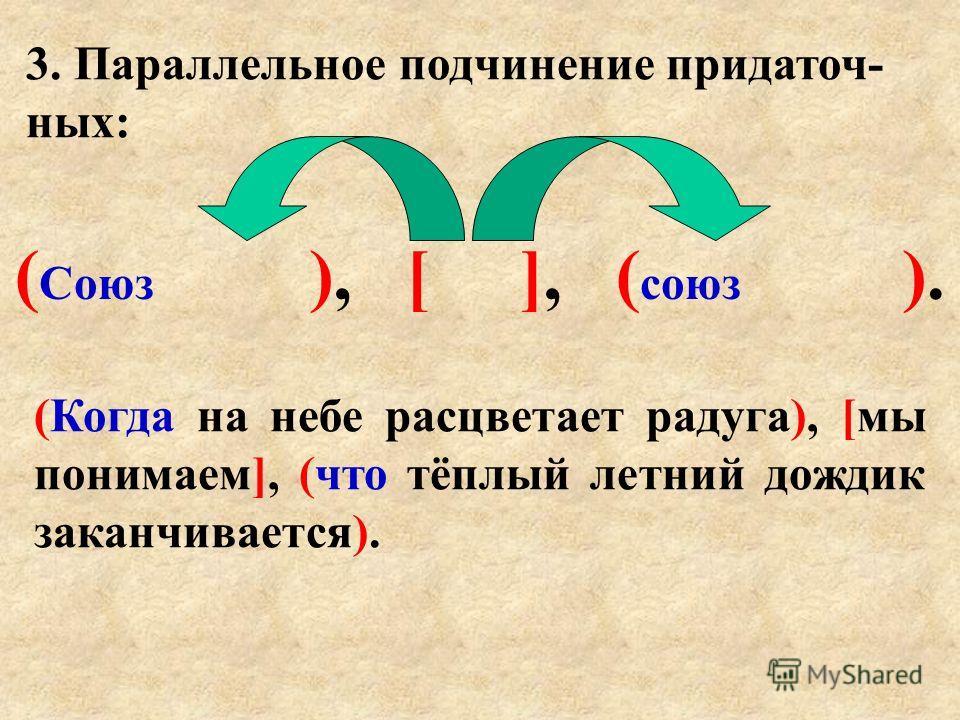 3. Параллельное подчинение придаточ- ных: ( Союз ), [ ], ( союз ). (Когда на небе расцветает радуга), [мы понимаем], (что тёплый летний дождик заканчивается).