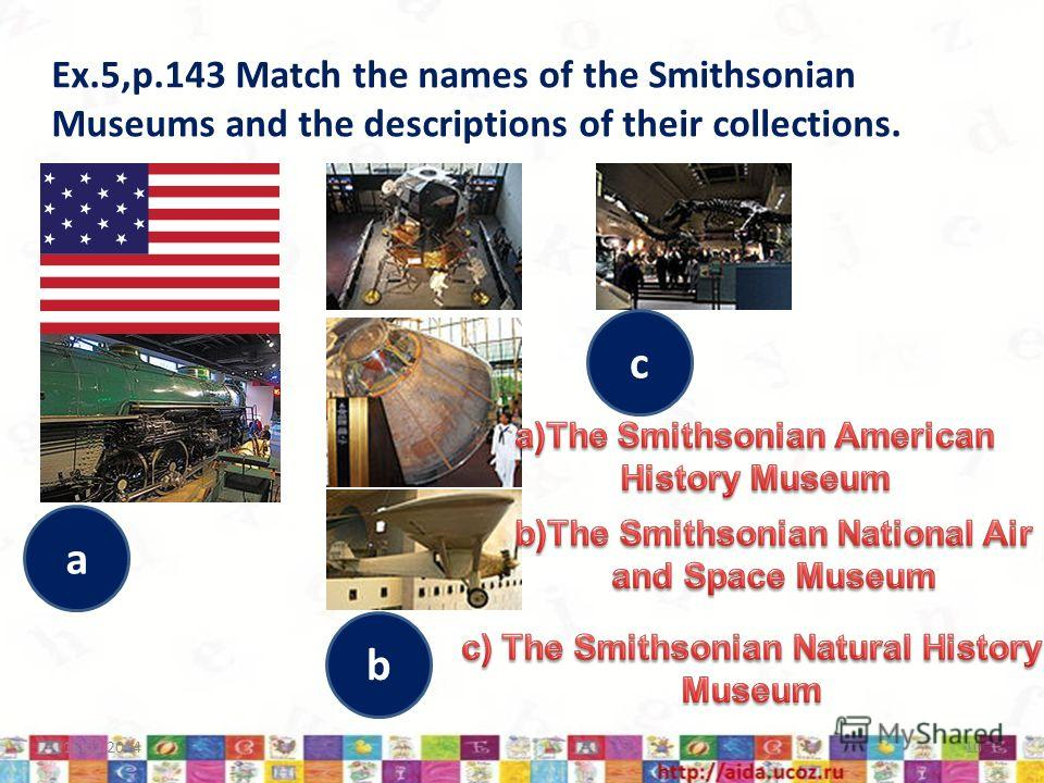 Ex.5,p.143 Match the names of the Smithsonian Museums and the descriptions of their collections. 18.02.201410 a b c