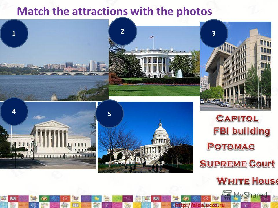 Match the attractions with the photos 18.02.20147 1 2 3 4 5