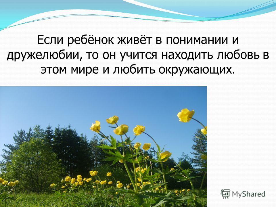 Если ребёнок живёт в понимании и дружелюбии, то он учится находить любовь в этом мире и любить окружающих.