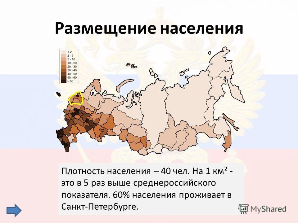 Плотность населения – 40 чел. На 1 км² - это в 5 раз выше среднероссийского показателя. 60% населения проживает в Санкт-Петербурге. Размещение населения
