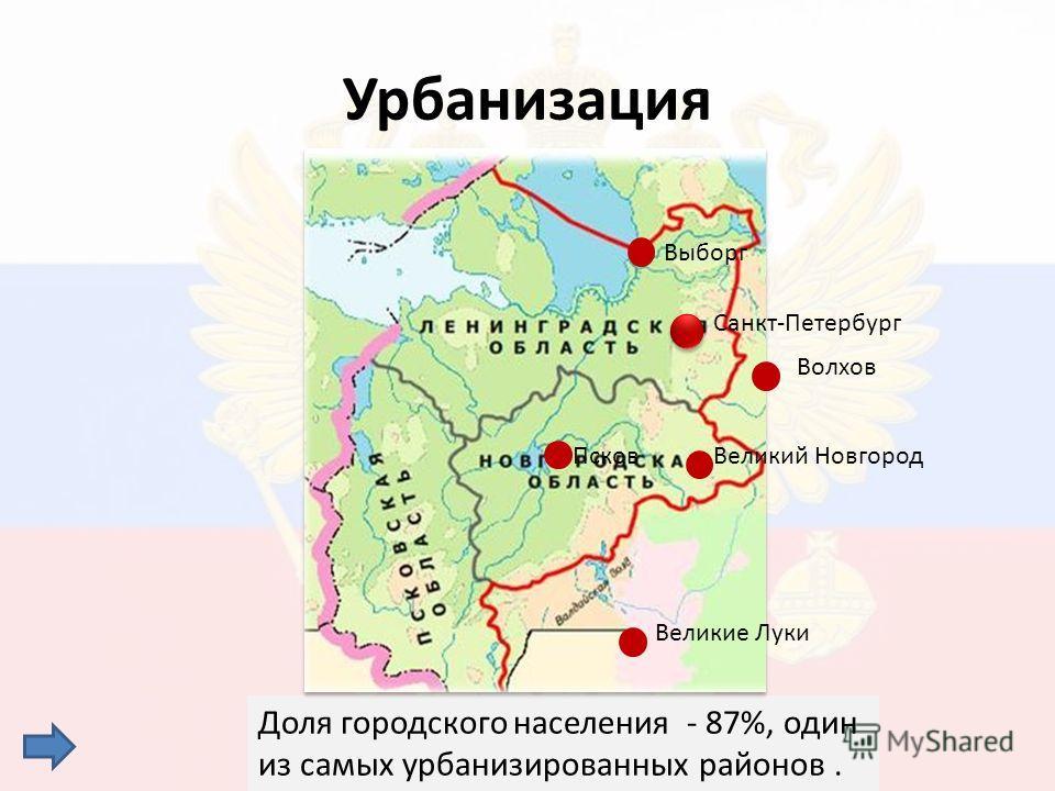 Урбанизация Доля городского населения - 87%, один из самых урбанизированных районов. Санкт-Петербург Выборг Волхов Великий НовгородПсков Великие Луки